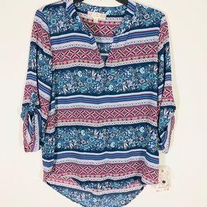 Pink Republic blue print blouse. Size S.